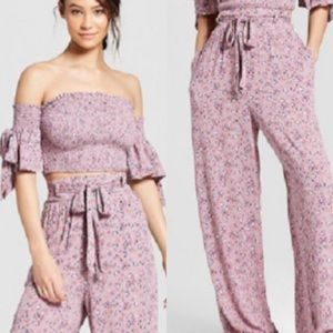 NWT Xhilaration floral Crop Top with pants XL/L